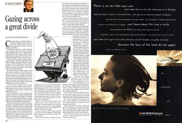 Article Preview: Gazing across a great divide, September 1994 | Maclean's