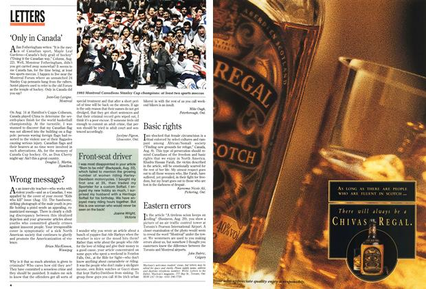 Article Preview: LETTERS, September 1994 | Maclean's