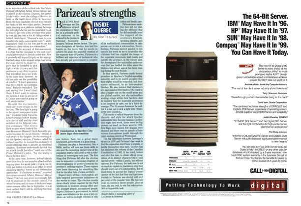 Article Preview: Parizeau's strengths, September 1994 | Maclean's