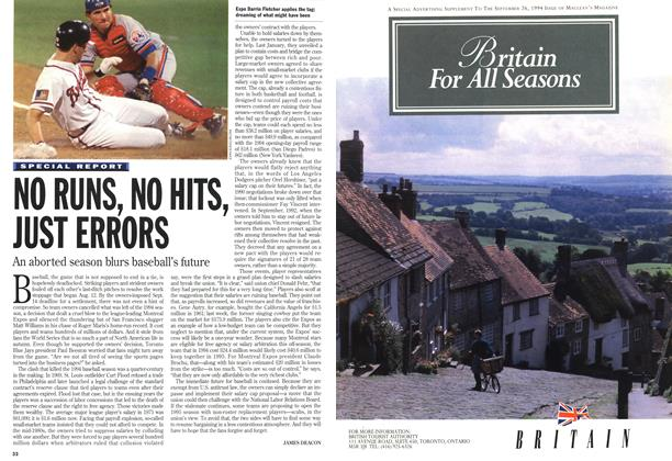 Article Preview: NO RUNS, NO HITS, JUST ERRORS, September 1994 | Maclean's