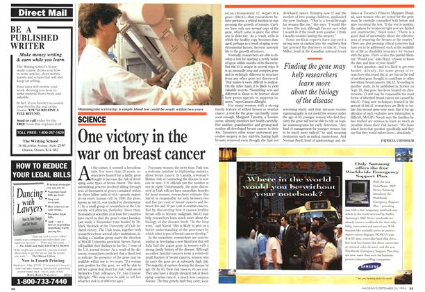 Article Preview: One victory in the war on breast cancer, September 1994 | Maclean's
