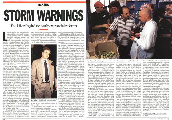Article Preview: STORM WARNINGS, October 1994 | Maclean's