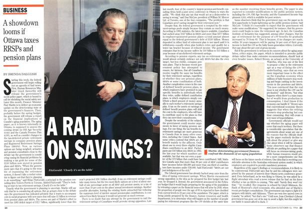 Article Preview: A RAID ON SAVINGS?, October 1994 | Maclean's