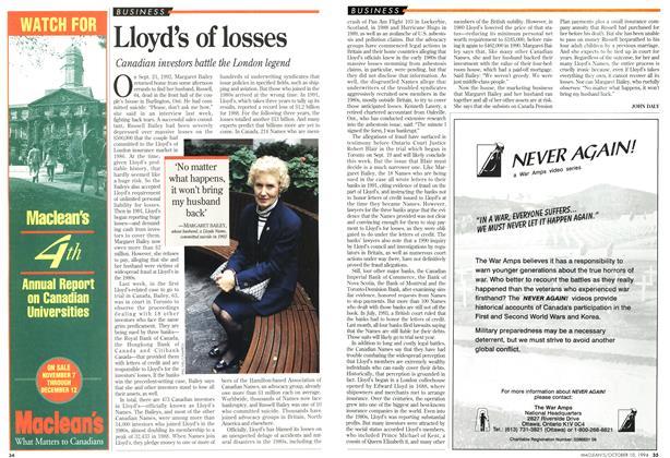 Article Preview: Lloyd's of losses, October 1994 | Maclean's