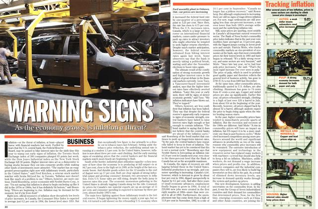 Article Preview: WARNING SIGNS, October 1994   Maclean's
