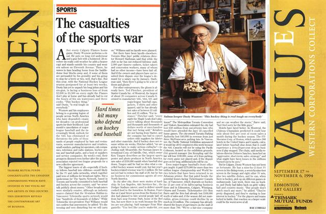 Article Preview: The casualties of the sports war, October 1994 | Maclean's