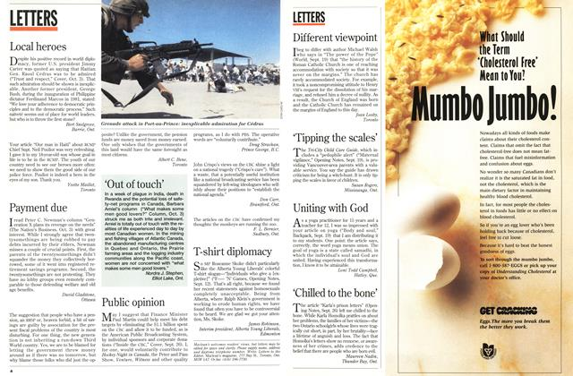 Article Preview: LETTERS, October 1994   Maclean's