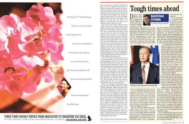 Article Preview: Tough times ahead, October 1994 | Maclean's