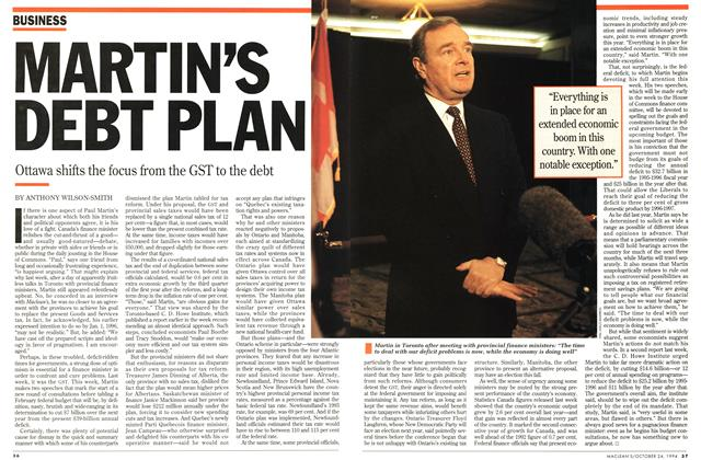 Article Preview: MARTIN'S DEBT PLAN, October 1994 | Maclean's