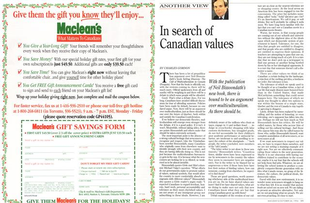 Article Preview: In search of Canadian values, October 1994 | Maclean's