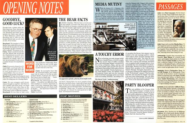 Article Preview: PARTY BLOOPER, October 1994 | Maclean's