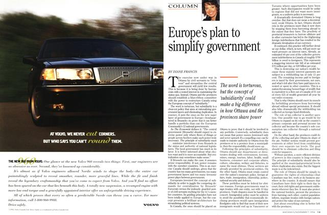 Article Preview: Europe's plan to simplify government, November 1994 | Maclean's
