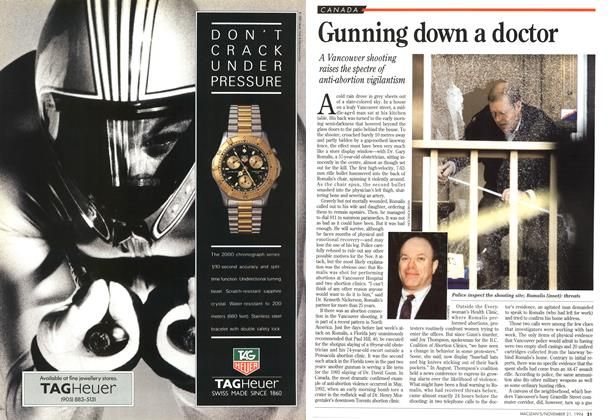 Article Preview: Gunning down a doctor, November 1994 | Maclean's