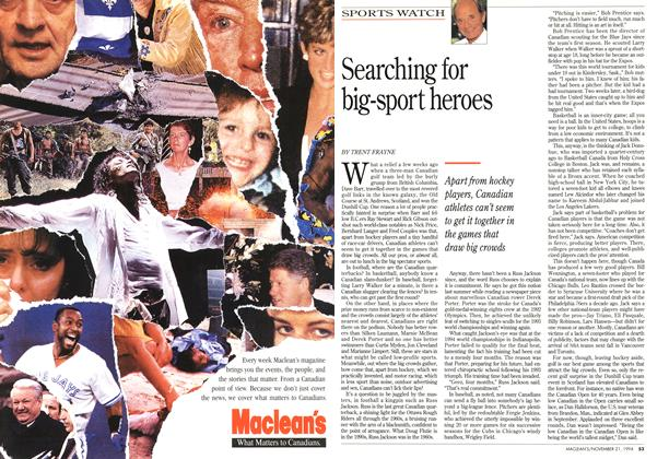 Article Preview: Searching for big-sport heroes, November 1994 | Maclean's
