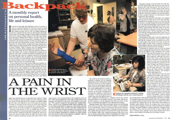 Article Preview: A PAIN IN THE WRIST, November 1994 | Maclean's