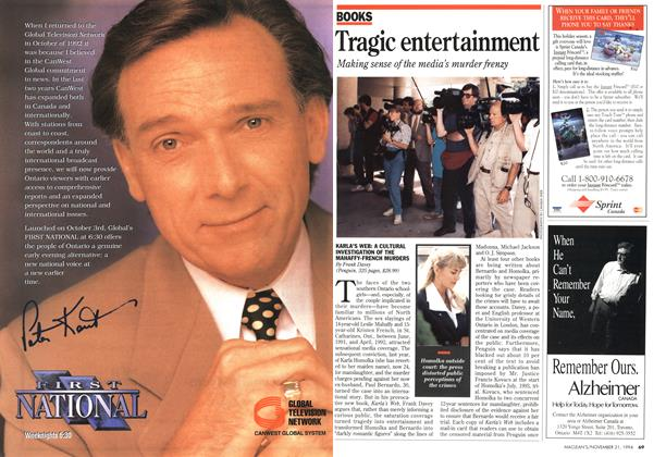Article Preview: Tragic entertainment, November 1994 | Maclean's
