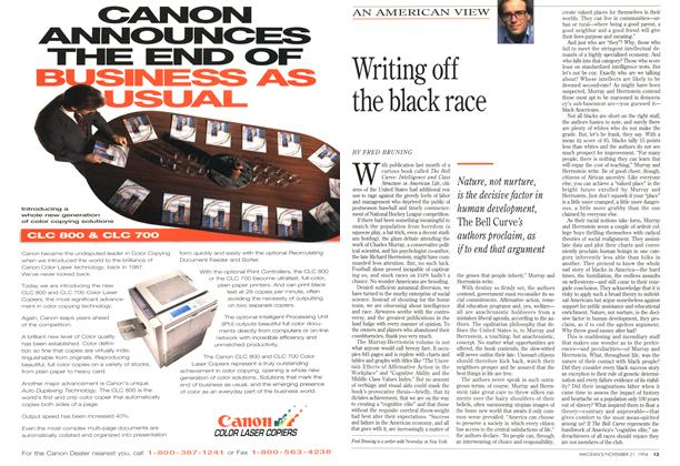 Article Preview: Writing off the black race, November 1994 | Maclean's