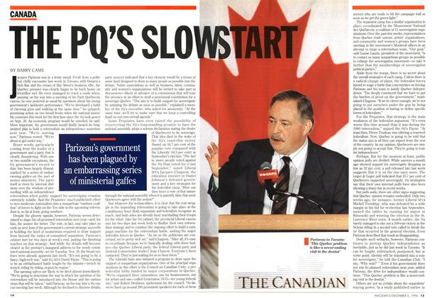 Article Preview: THE PQ'S SLOW START, December 1994 | Maclean's