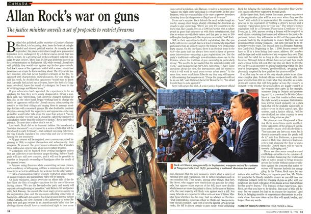 Article Preview: Allan Rock's war on guns, December 1994 | Maclean's