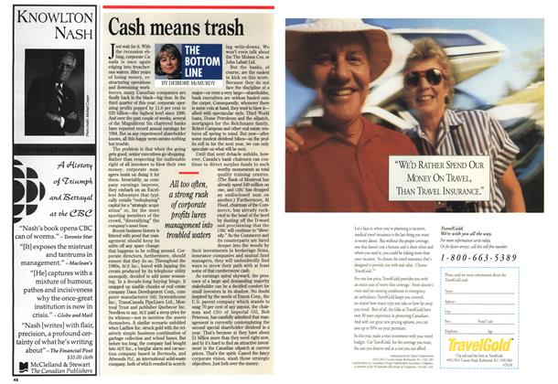 Article Preview: Cash means trash, December 1994 | Maclean's