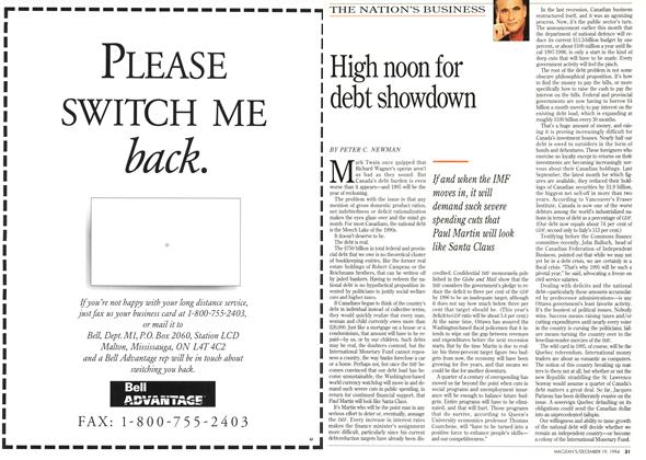 Article Preview: High noon for debt showdown, December 1994 | Maclean's