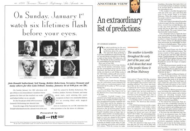 Article Preview: An extraordinary list of predictions, December 1994 | Maclean's
