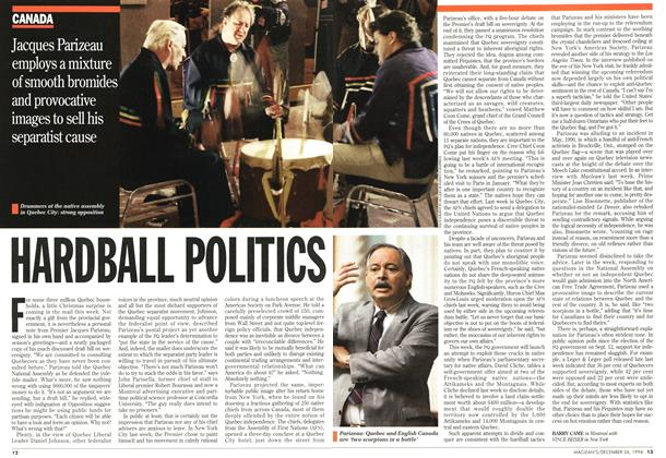 Article Preview: HARDBALL POLITICS, December 1994 | Maclean's