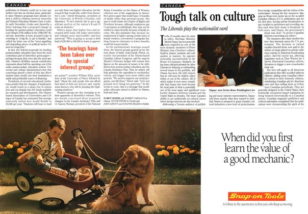 Article Preview: Tough talk on culture, January 1995   Maclean's
