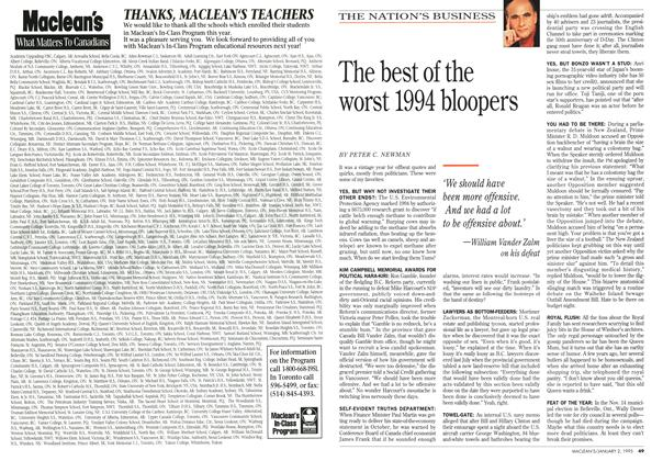Article Preview: The best of the worst 1994 bloopers, January 1995 | Maclean's