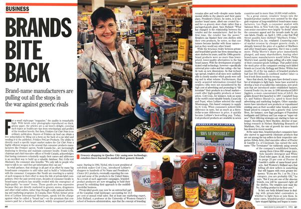Article Preview: BRANDS BITE BACK, January 1995 | Maclean's