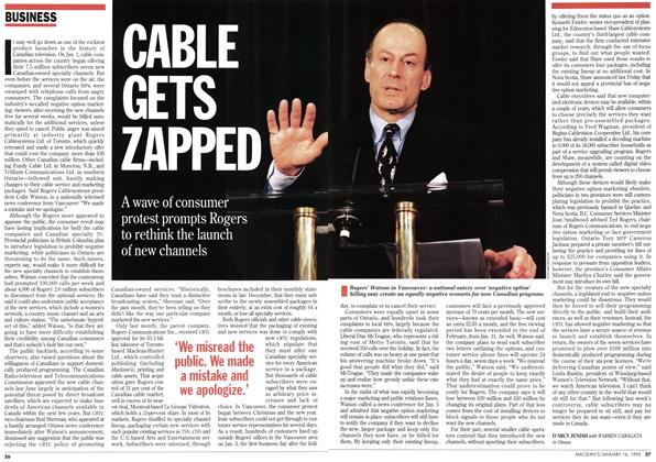 Article Preview: CABLE GETS ZAPPED, January 1995 | Maclean's