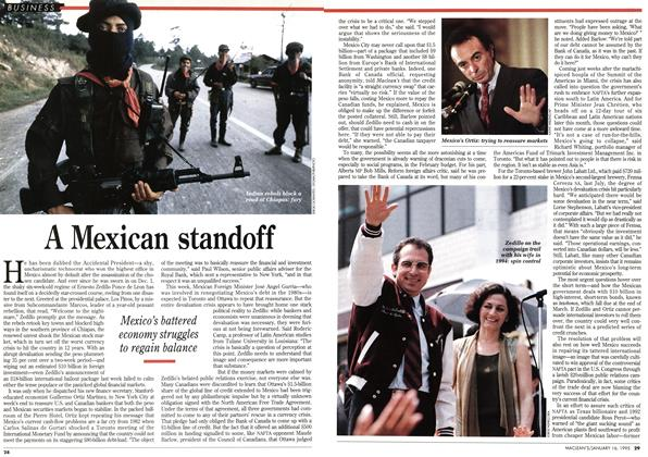 Article Preview: A Mexican standoff, January 1995 | Maclean's