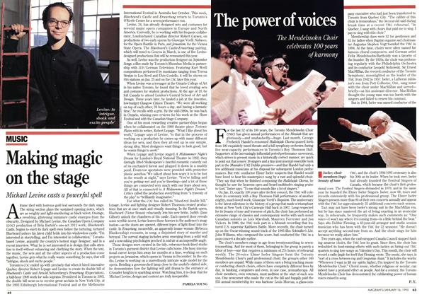 Article Preview: Making magic on the stage, January 1995 | Maclean's