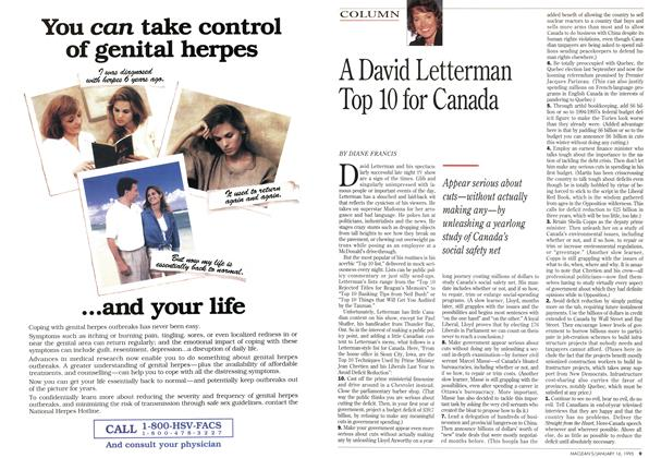 Article Preview: A David Letterman Top 10 for Canada, January 1995 | Maclean's