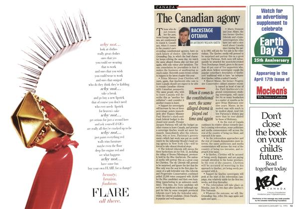 Article Preview: The Canadian agony, January 1995 | Maclean's