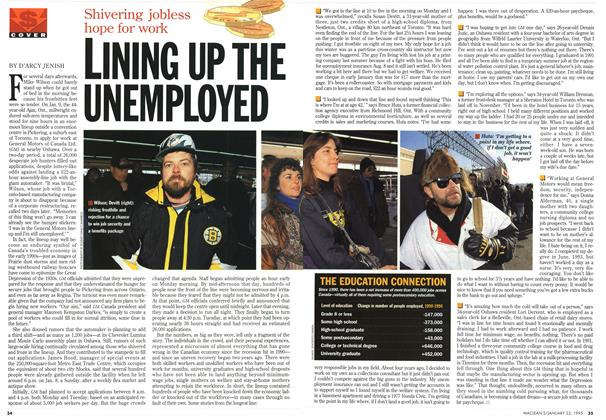 Article Preview: LINING UP THE UNEMPLOYED, January 1995 | Maclean's