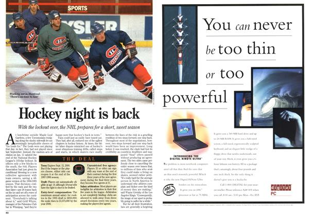 Article Preview: Hockey night is back, January 1995 | Maclean's