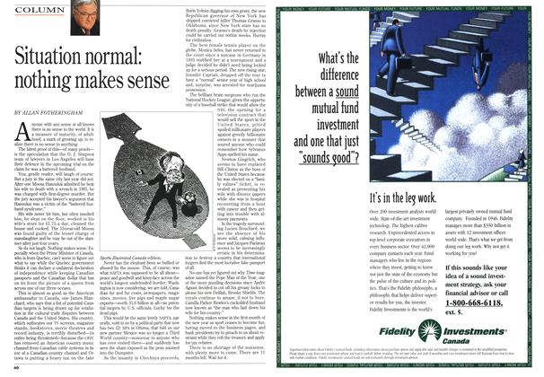 Article Preview: Situation normal: nothing makes sense, January 1995 | Maclean's