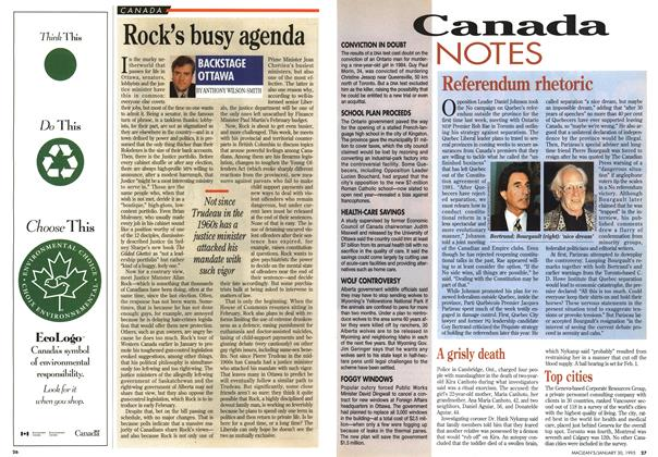 Article Preview: Rock's busy agenda, January 1995 | Maclean's