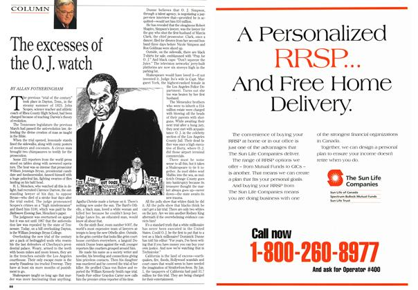 Article Preview: The excesses of the O. J. watch, January 1995   Maclean's
