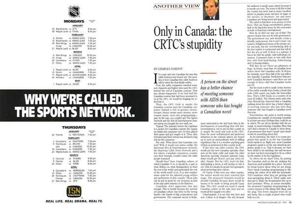 Article Preview: Only in Canada: the CRTC's stupidity, January 1995 | Maclean's