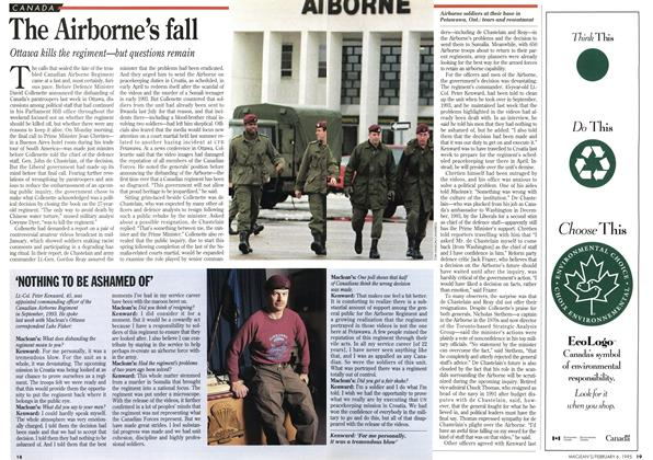 Article Preview: The Airborne's fall, February 1995 | Maclean's