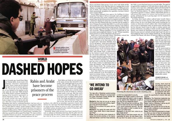 Article Preview: DASHED HOPES, February 1995   Maclean's