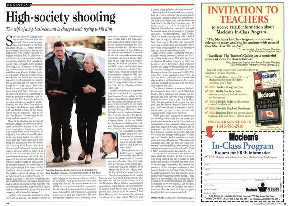 Article Preview: High-society shooting, February 1995 | Maclean's