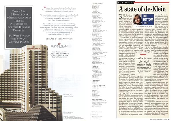 Article Preview: A state of de-Klein, February 1995 | Maclean's