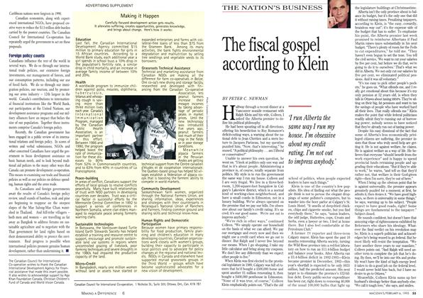Article Preview: The fiscal gospel according to Klein, February 1995 | Maclean's