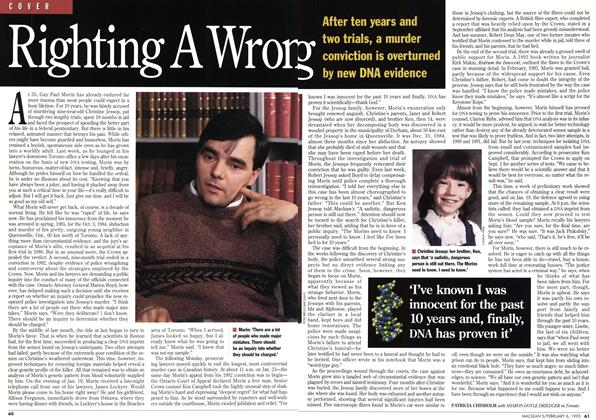 Article Preview: Righting A Wrong, February 1995 | Maclean's