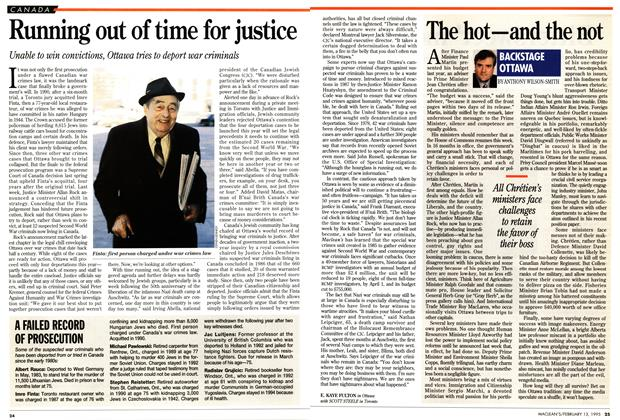 Article Preview: Running out of time for justice, February 1995 | Maclean's