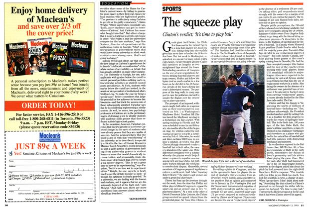 Article Preview: The squeeze play, February 1995 | Maclean's
