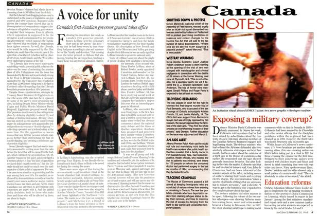 Article Preview: A voice for unity, February 1995 | Maclean's